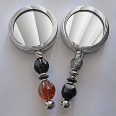 Enterprise Silver-Plated Vanity Mirror with Your Choice of Focal Bead $65.00